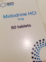 Close-up of the box of Midodrine 5 mg tablets