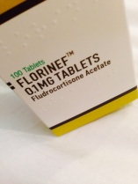 A box of Florinef (Fludrocortisone) 0.1 mg tablets